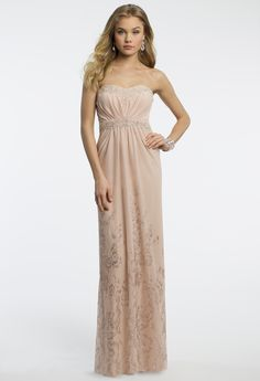 Camille La Vie Mesh Strapless Prom Dress with Beaded Border