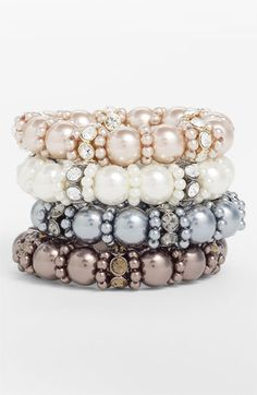 Givenchy Glass Pearl Stretch Bracelet available at #Nordstrom