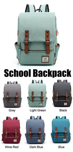 fed05a345c I like light green and gray! Vintage Travel Backpack Leisure Canvas With  Leather Backpack amp