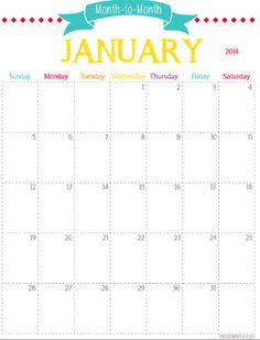 Free Printable Monthly Planner {2014}