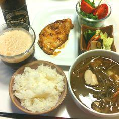 【7/17・Dinner】豚肉西京焼、サラダ、浅漬け、雑煮