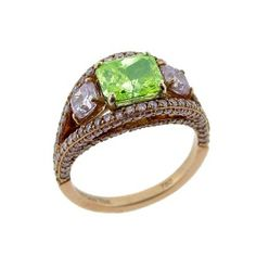 Natural Fancy Green and Pink Diamond ring by Christian Tse