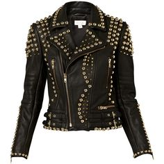 Witchery Studded Leather Jacket (705 BRL) ❤ liked on Polyvore featuring outerwear, jackets, coats, leather jackets, tops, black, genuine leather jackets, fleece-lined jackets, real leather jackets and 100 leather jacket