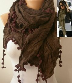 Brown Women Shawl Scarf  Headband Necklace Cowl by fatwoman, $14.90