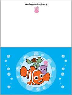 Card, Finding Nemo, Invitations - Free Printable Ideas