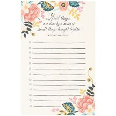 Manage your important tasks or jot down your to-do list with this beautiful Rifle Paper Co. illustrated notepad.<br><br>Size - 4.25 x 6.5