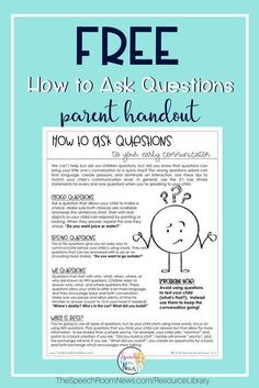 Free handout for parents Questions can help or hurt in language development! A great free handout for parents on several types and when to use each one. Free for signing up on the Speech Room News Email list. - Baby Development Tips Preschool Speech Therapy, Speech Therapy Activities, Speech Language Pathology, Language Activities, Speech And Language, Shape Activities, Sign Language, Handout, Speech And Hearing
