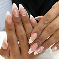 Bridal Nails French Oval 40 Ideas For 2019 Bridal Nails French, French Tip Nails, Nail French, Bride Nails, Wedding Nails, Cute Nails, Pretty Nails, Hair And Nails, My Nails