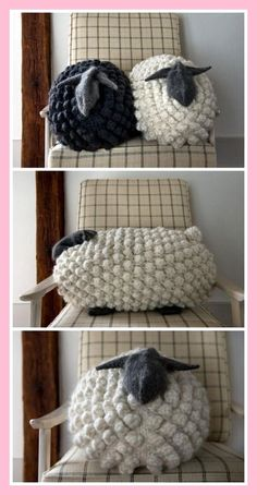 Giant Knit Bobble Sheep Pillow *Free Pattern*This knit. (True Blue Me and You: DIYs for Creatives) DIY Giant Knit Bobble Sheep Pillow *Free Pattern*This knit.DIY Giant Knit Bobble Sheep Pillow *Free Pattern*This knit. Crochet Home, Crochet Crafts, Yarn Crafts, Knit Crochet, Bobble Stitch Crochet, Sheep Crafts, Crochet Sheep, Easy Crochet, Crochet Baby