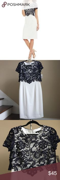 """🆕 Preston & York Dress Stunning floral lace overlay dress from Preston & York. Lined. Color Ivory and Navy. Shell and lining 97% Polyester, 3% Spandex. Combo 100% Polyester. Approx. measurements: Size 6: bust 36"""", waist 32"""", hips 40"""", length 41"""". Size 10"""": bust 39"""", waist 34"""", hips 43"""", length 42"""". 🚨 Price firm unless bundled! 🚨 Preston & York Dresses"""