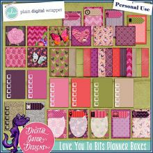 Love You 2 Bits Planner Boxes by Digital Gator Designs