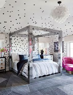High octane glamour in this Beverly Hills girls room
