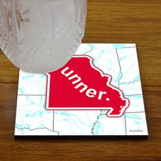 Missouri State Runner - Glossy Tile Coasters - Show off your pride for Missouri with this great Missouri Runner Coaster.