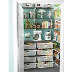 Like the metal mesh drawers to organize different ethnic supplies.   The Container Store > Driftwood & White elfa Walk-In Pantry