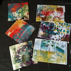 Finally got to try out my Gelli plate!! These are just some of the mountain I printed, hands, table and everything else covered in paint! Had an absolute blast, cant wait to do it again, although now I have to clean up!! #gelliplate #mixedmedia #artjournalling