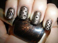 Black. Nails. Silver. Patterns.