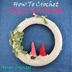 Crochet Christmas Wreath, Crochet Wreath, Christmas Tree Ornaments, Christmas Wreaths, Half Double Crochet, Single Crochet, Yarn Tail, Cotton Crochet, Free Prints