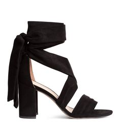 Check this out! Fabric sandals with a pleated strap at front and wide, wrapover ankle ties. Faux leather lining and insoles. Rubber soles. Covered heel height 3 1/2 in. - Visit hm.com to see more.