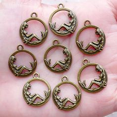 Lovely mermaid charms in antique bronze tone! Good for jewelry making like earrings, bracelet, necklace as well as zipper pull, bookmark,