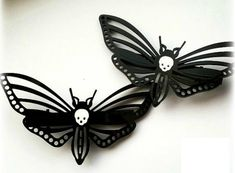 Insect clip Moth clips Butterfly barrette Red Butterfly felt hair clip set