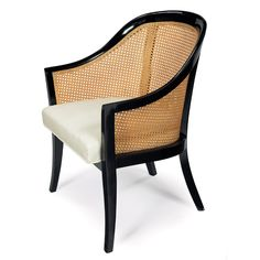 ". Harvey Probber occasional chair, by Harvey Probber, Inc., black lacquered wood frame, curved back with original caning, reupholstered in cream-colored silk, refinished, 24.75""w x 25""d x 33""h, excellent condition Decor, Room Design, Colonial Furniture, Occasional Chairs, Outdoor Chairs, Chair, Living Room Designs, Vintage Hotels, Cane Back Chairs"
