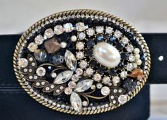 Black pearl gold and clear rhinestone belt by CreativityAtPlay, $60.00