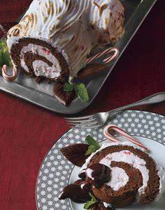 Frozen Chocolate-Peppermint bûche de Noël, Christmas log dessert recipes