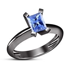 Gorgeous Emerald Cut Blue Sapphire 14k Black Gold Fn 925 Silver Solitaire Ring #aonedesigns