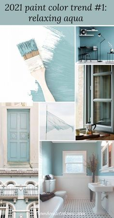 I love these 2021 trending paint colors! It has all of the popular paint colors from the major paint companies, like Pantone, Benjamin Moore, Sherwin Williams, Farrow and Ball, Behr, PPG and Valspar. Great 2021 home painting colors for your living room, bedroom, bathroom or kitchen. | Home Decor Trends Aqua Paint, Blue Paint Colors, Paint Colors For Living Room, Wall Paint Colors, Bedroom Paint Colors, Interior Paint Colors, Paint Colors For Home, House Colors, Paints For Home