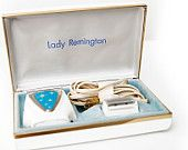 Lady Remington Electric Shaver Set Starburst Sunburst Pattern