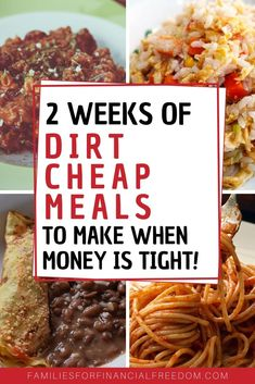 These are great ideas for quick cheap meals on a budget! Find 40 cheap meals un Dirt Cheap Meals, Cheap Meal Plans, Cheap Meals To Make, Cheap Family Meals, Inexpensive Meals, Cheap Dinners, Food To Make, Cheap Meals For Dinner, Quick Cheap Dinner Ideas