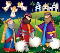 Helen Poole - shepherds, sheep and angels. Christmas Nativity Scene, Noel Christmas, Merry Little Christmas, Christmas Themes, Christmas Crafts, Vintage Christmas, Christmas Decorations, Christmas Ornaments, Sheep Illustration