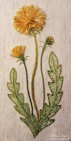 I ❤ goldwork embroidery . Dandelion of a Thousand Wishes ~By Katherine Diuguid.gorgeous work, even tho I do hate dandelions! Silk Ribbon Embroidery, Crewel Embroidery, Cross Stitch Embroidery, Embroidery Patterns, Machine Embroidery, Crazy Quilting, Brazilian Embroidery, Gold Work, Embroidery Techniques