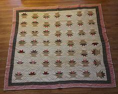 Antique 1800's Calico Cactus Red and Breen Christmas Basket quilt, eBay, whisper-hill