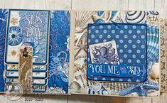 Scraps of Life: Graphic 45 Ocean Blue Mini Album Tutorial Vintage Graphic Design, Graphic 45, Graphic Design Posters, Mini Scrapbook Albums, Scrapbook Page Layouts, Mini Albums, Diy Mini Album, Mini Album Tutorial, Scrapbook Templates