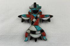 Old pawn Zuni Knifewing pin.