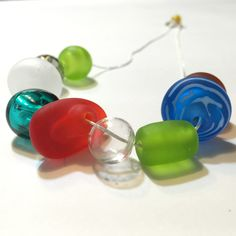 Funny, happy, fresh statement necklace. Handmade hollow glass beads. It comes in a beautiful handcrafted wooden box