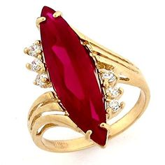 Yellow Gold Simulated Ruby July Birthstone CZ Ring – Jewelry Liquidation Number: – Size Features Made in USA! Made with Real Gold! Comes with FREE fancy black leatherette ring box! Antique Jewellery Designs, Gold Ring Designs, Gold Earrings Designs, Gold Jewellery Design, Antique Jewelry, 24k Gold Jewelry, Hand Jewelry, Ruby Jewelry, Gems Jewelry