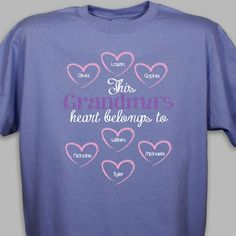 Surprise grandma with our Personalized Heart Belongs To T-Shirt!  This adorable design features up to 30 hearts that may be personalized with the names of everyone grandma loves.  Add any title to the top (Nana, Mimi, Grammy, etc.).