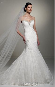 Berta 2016 Full Tulle Lace Up Wedding Dresses Mermaid Strapless Neckline Illusion Bodice Sweep Train Pearls Sexy Bridal Mermaid Wedding Dresses Bridal Gowns 2016 Mermaid Dress Online with $189.71/Piece on Yahuifang2016's Store | DHgate.com