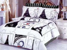Black & White Paris Eiffel Tower Teen Bedding for Girls 6pc Full/Queen Duvet Cover Set