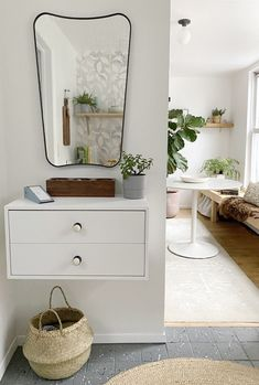 Makeshift Entryway Cabinet: EKET Cabinet with 2 drawers, IKEA ($90)