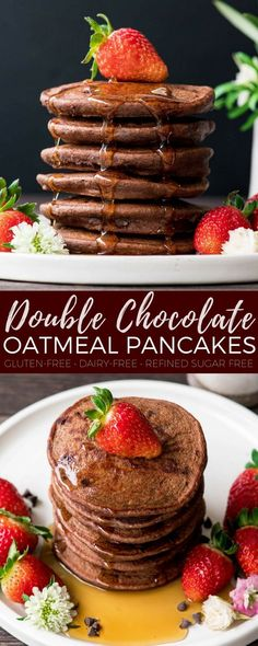 Gluten-Free Double Chocolate Oatmeal Pancakes are a special yet healthy breakfast that are dairy-free & have no refined sugar! Because chocolate for breakfast is always a good choice! #pancakes #breakfast #glutenfree #dairyfree #chocolate #refinedsugarfree #healthyrecipe #recipevideo