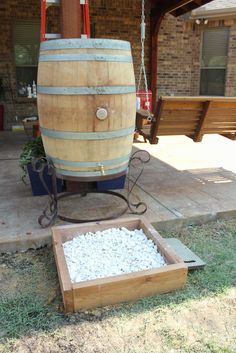 Rustic Rain Barrel : 7 Steps (with Pictures) - Instructables Rain Barrel Stand, Rain Barrel System, Rain Barrels, Rain Water Barrel, Diy Design, Wine Cask, Rock Bed, Barrel Projects, Water Collection