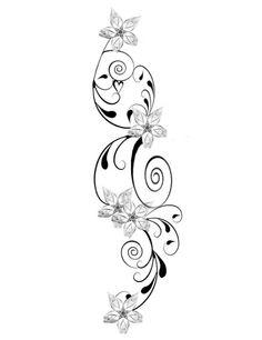 Blumenranken Tattoovorlage für Frauen