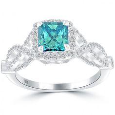 1.82 Carat Fancy Blue Radiant Cut Diamond Engagement Ring 18k Gold Vintage Style - Blue Diamond Rings - Color Rings