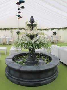 Another decorated fountain in the centre of a marquee!