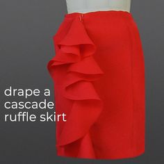 Draping a Cascade Ruffle Skirt - pattern - Sewing Dress, Dress Sewing Tutorials, Skirt Patterns Sewing, Diy Dress, Sewing Clothes, Clothing Patterns, Sewing Projects, Sewing Tips, Pattern Drafting Tutorials