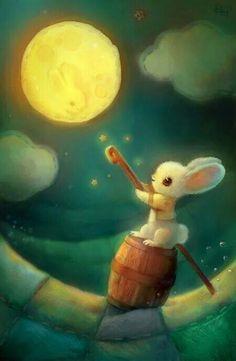Heather's Sketches Bunny reaches for the moon Bunny Art, Sun And Stars, Thomas Kinkade, Beautiful Moon, Moon Art, Children's Book Illustration, Art Illustrations, Whimsical Art, Totoro