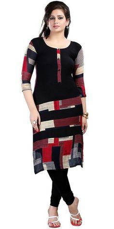 Admirable Black And Multi-Color Cotton Kurti.
